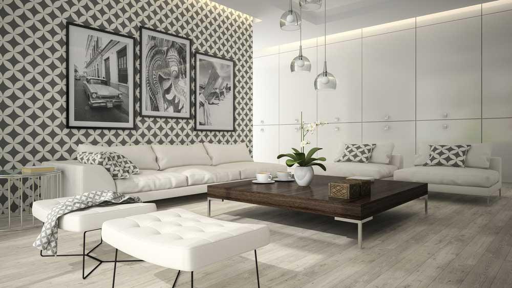 Een strak patroon aan de muur met behang