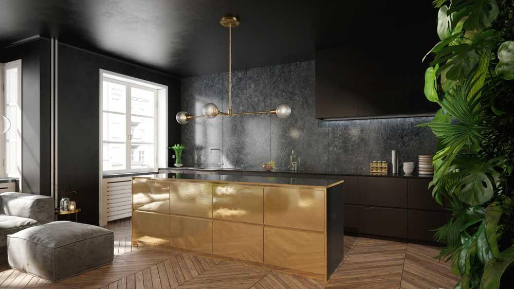 Durf uit te pakken met goud in de keuken