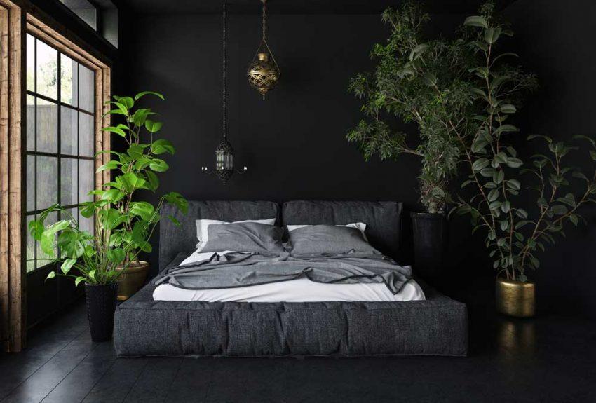 Zwarte Slaapkamer Muur : Fotobehang voor op de slaapkamer fotobehang